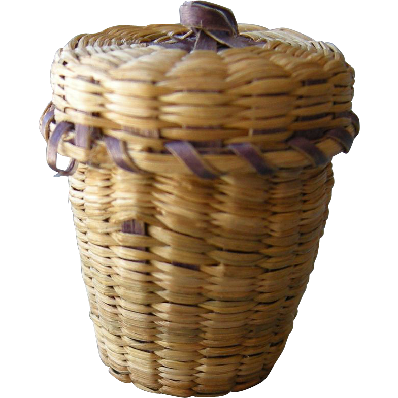 Antique Sweetgrass Basket Thimble Holder