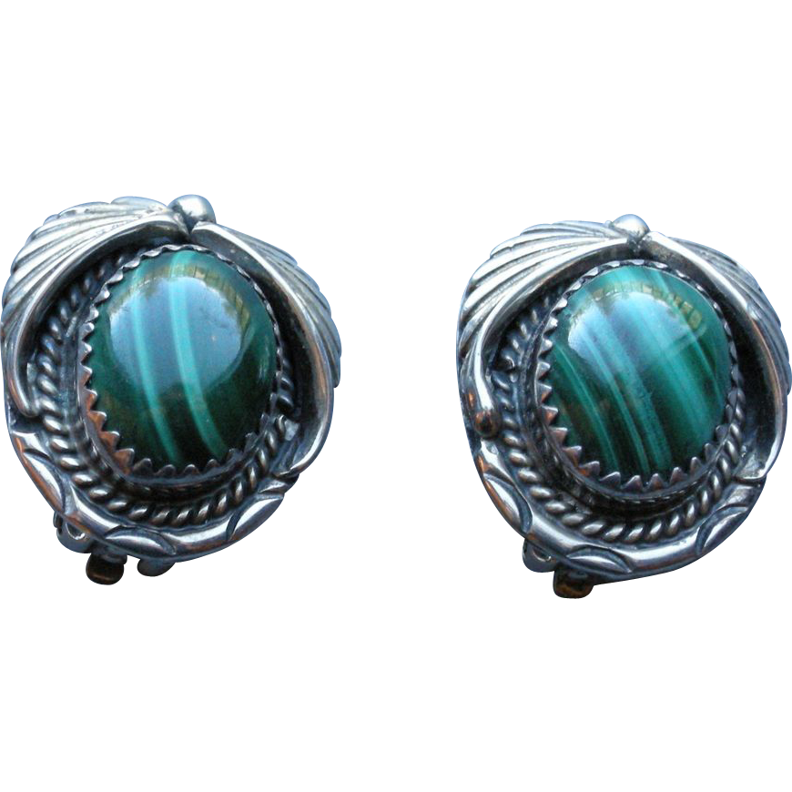 Vintage Navajo Sterling and Malachite clip Earrings
