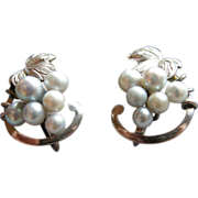 Sterling & Cultured Pearl Grape Earrings, vintage screw back