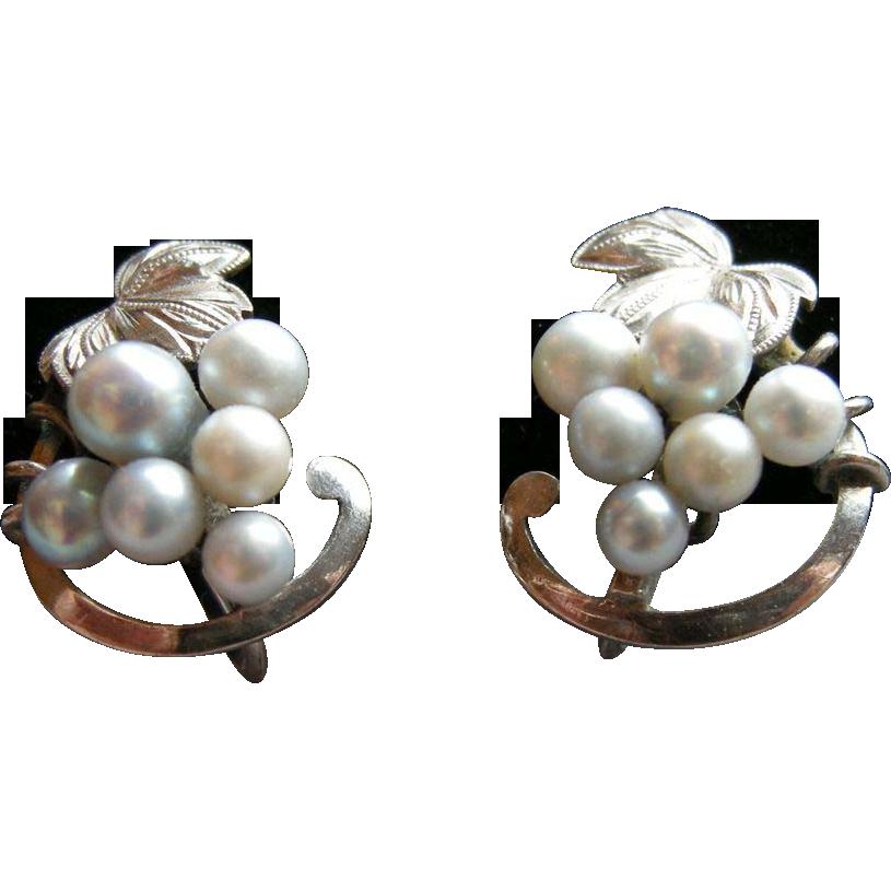 Sterling & Cultured Pearl Grape Earrings, vintage screw back