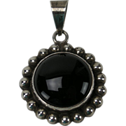 Vintage Sterling & Onyx Pendant, Mexico