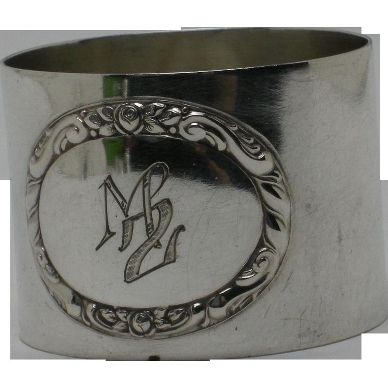 800 Silver Napkin Ring, monogram MZ