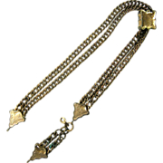 Antique Victorian Chatelaine Watch Fob Chain w. Slider