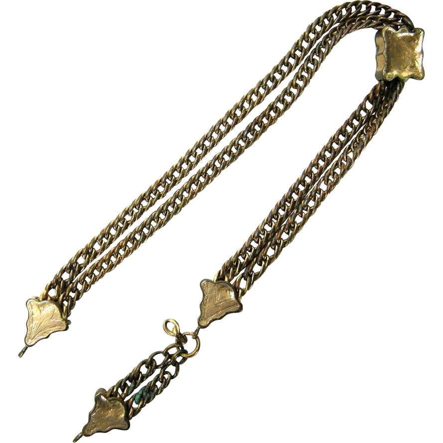 Antique Victorian Chatelaine Watch Fob Chain w. Slider