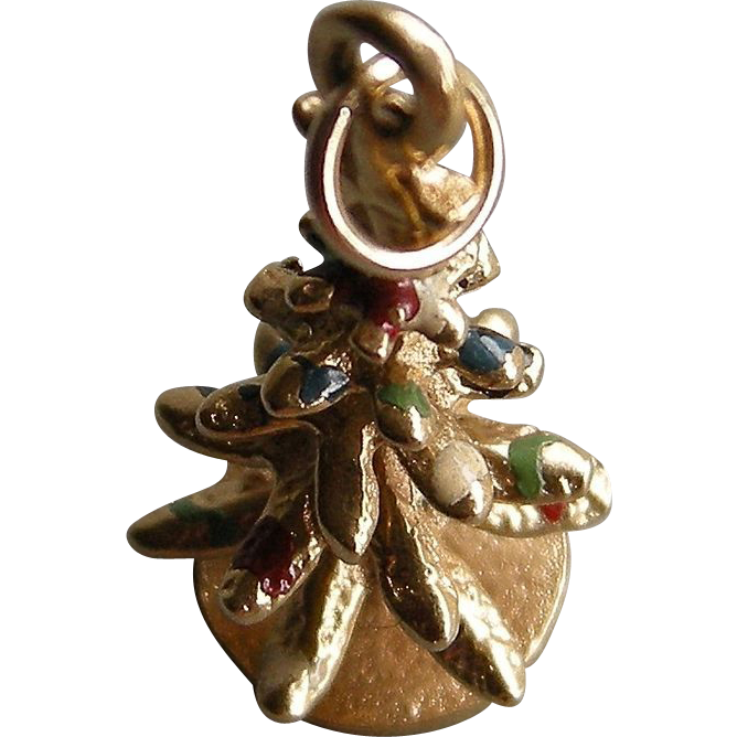 Vintage 14k Gold Christmas Tree Charm