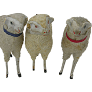 Three Vintage Christmas Putz Wooly Sheep, Germany