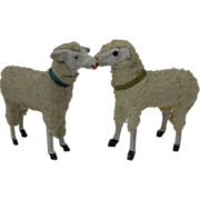 2 Vintage Christmas Putz Sheep, Germany
