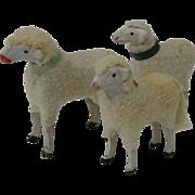 3 Small Vintage Christmas Garden Putz Sheep, Germany