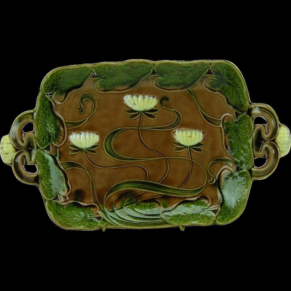 Villeroy & Boch Antique Art Nouveau Majolica Bread Plate w. Water Lilies