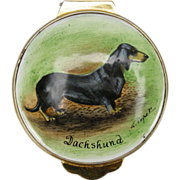 Dachshund England Hand-painted Enamel Trinket Box, 1982 by Payne
