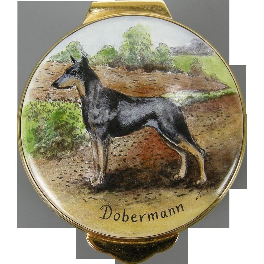 Doberman England Hand-painted Enamel Trinket Box, 1982 by Payne