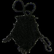 Victorian Black Beadwork Drawstring Bag Purse