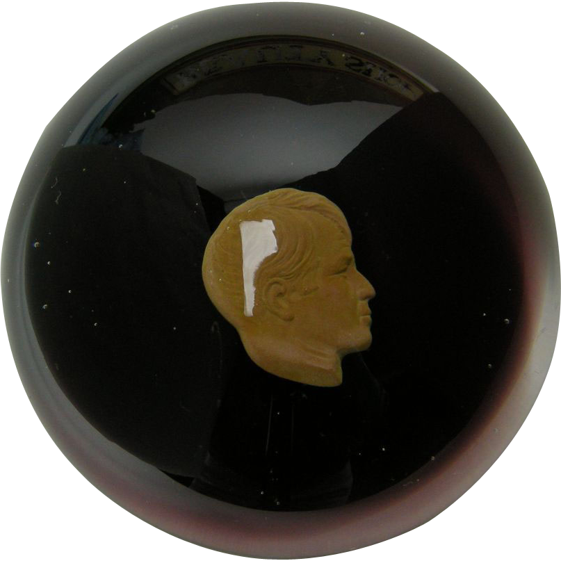President John F. Kennedy Profile Glass Paperweight
