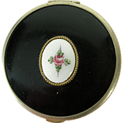Vintage LaMode powder & rouge Compact w. Guilloche Enamel rose