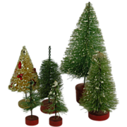 6 Vintage Bottle Brush Christmas Trees
