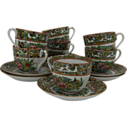 7 Vintage Chinese Rose Medallion Cups and Saucers, c.1960