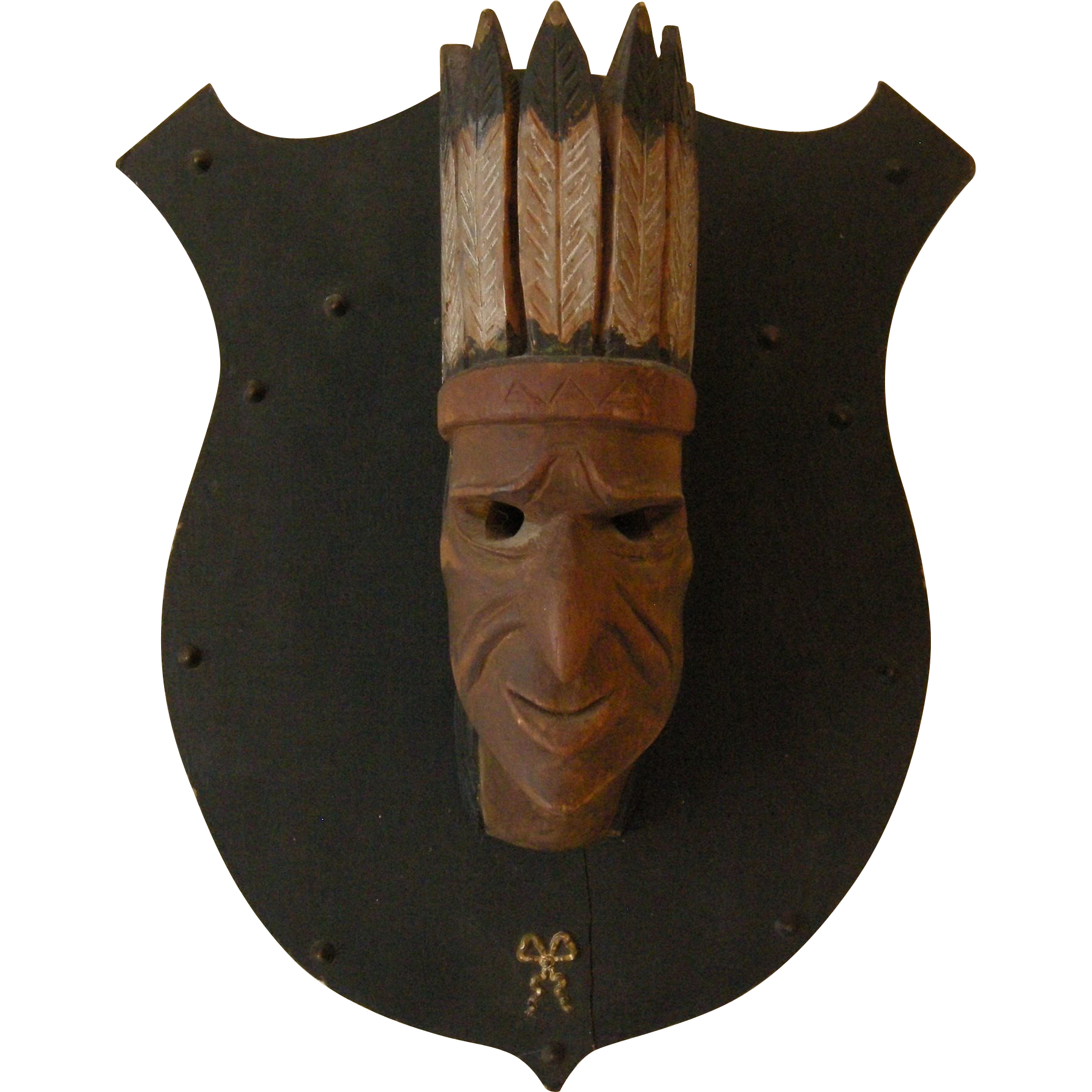 Antique Cigar Store Style Folk Art Wooden American Indian Chief Carving, Missouri, 1907