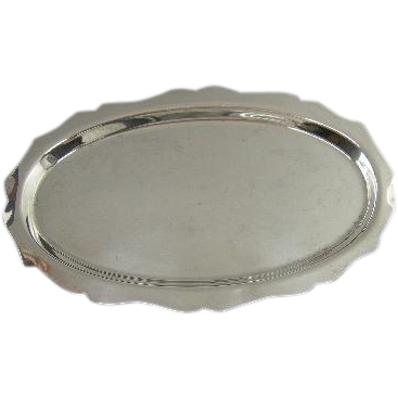 Small Vintage Oval Sterling Tray w. Scalloped edge, by Boardman