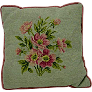 Vintage Floral Handmade Needlepoint Pillow, pink wild roses