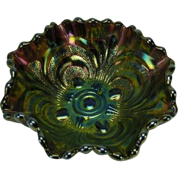 "Imperial Scroll Embossed Amethyst Carnival Glass 5"" Bowl"