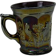 Northwood Singing Birds Amethyst Carnival Glass Mug