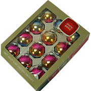 12 Mid-Century Blue Pink and Gold Shiny Brite Christmas Ornaments, Original Box