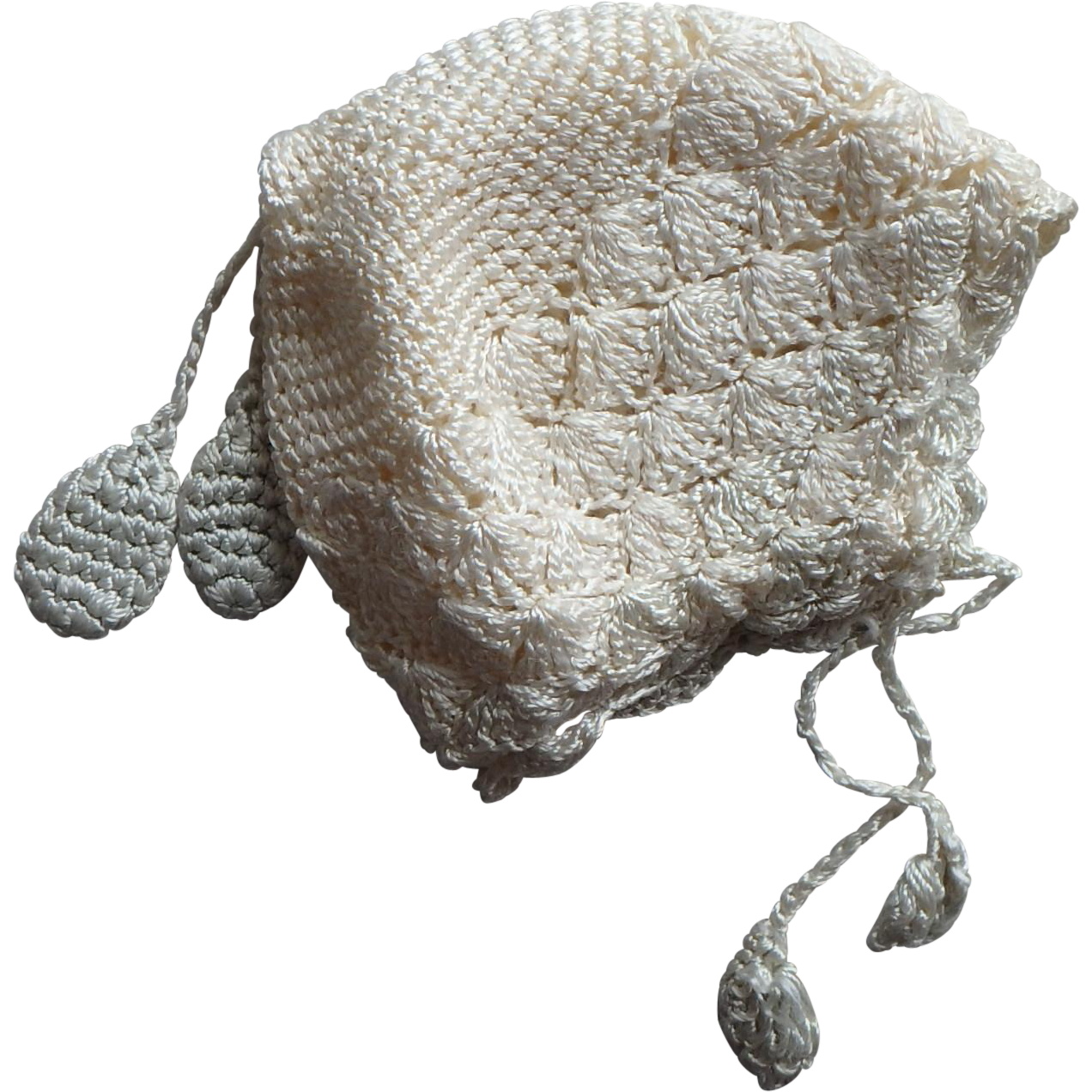 Baby or Doll Bonnet, Hand-Crocheted w. wool lining c.1920