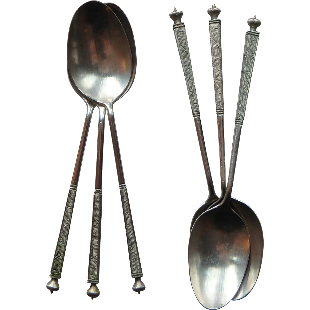 Asian Demitasse Spoons, 800 Silver set of 6