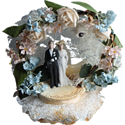 1940 Vintage Wedding Cake Topper, Bisque Figures