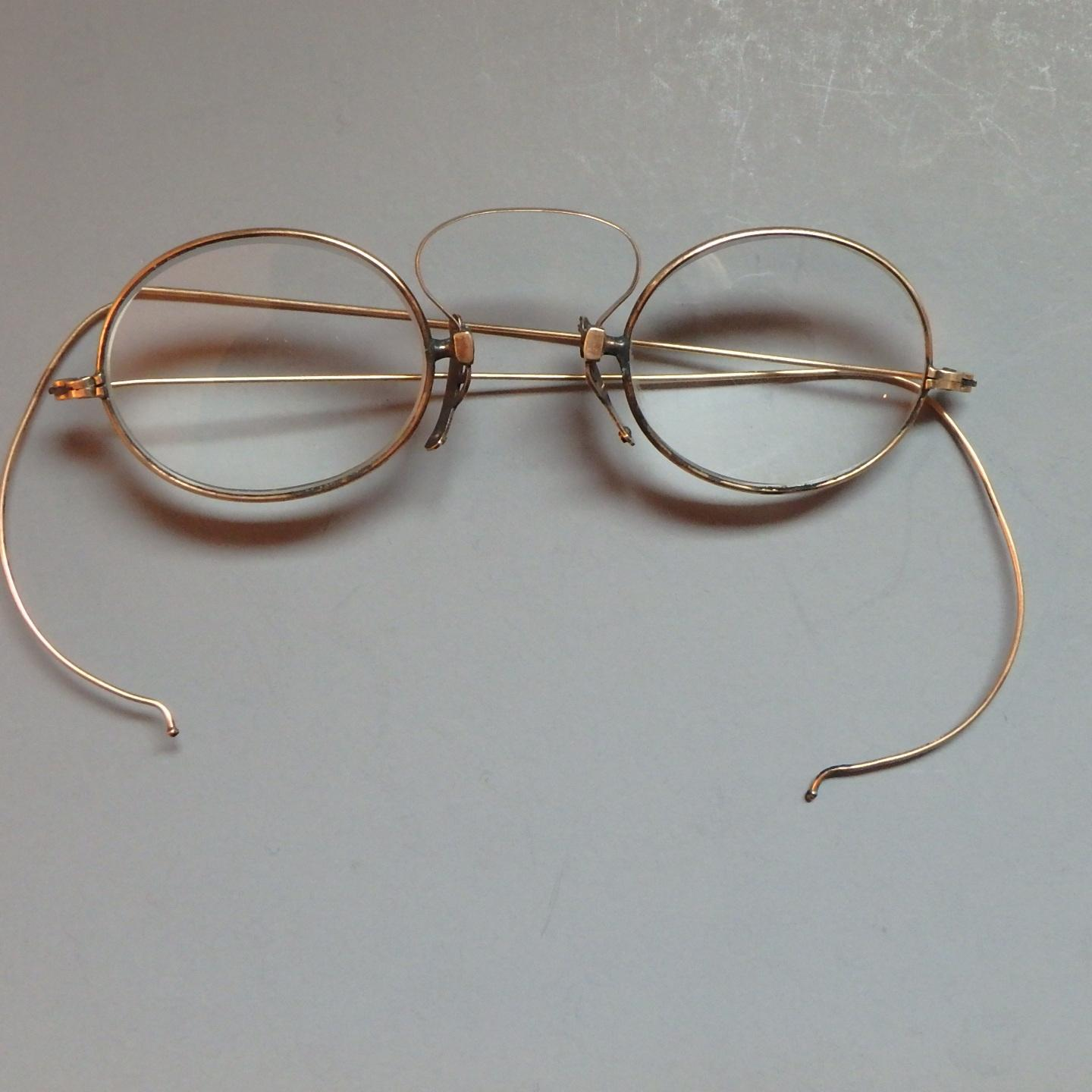 10k Gold Eyeglass Frames : Antique 10k Yellow Gold Wire-Rimmed Eyeglasses from ...