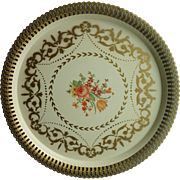 Vintage 14 ¾ inch Round NASHCO Tole Tray with Rose, Flowers & Gold Stencil