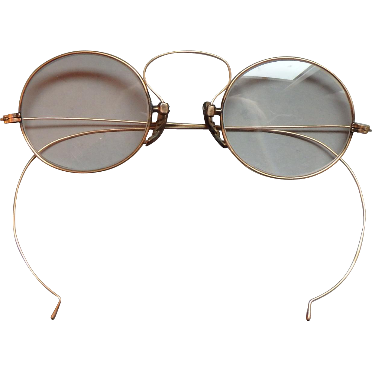 antique 14k gold wire rimmed eyeglasses from