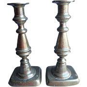 Pair Antique English 8 ½ in. Brass Candlesticks, one Push-up