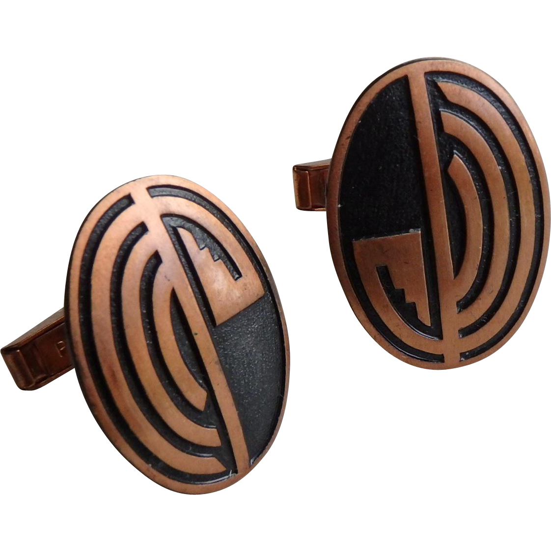 Copper Cufflinks, Native American Design