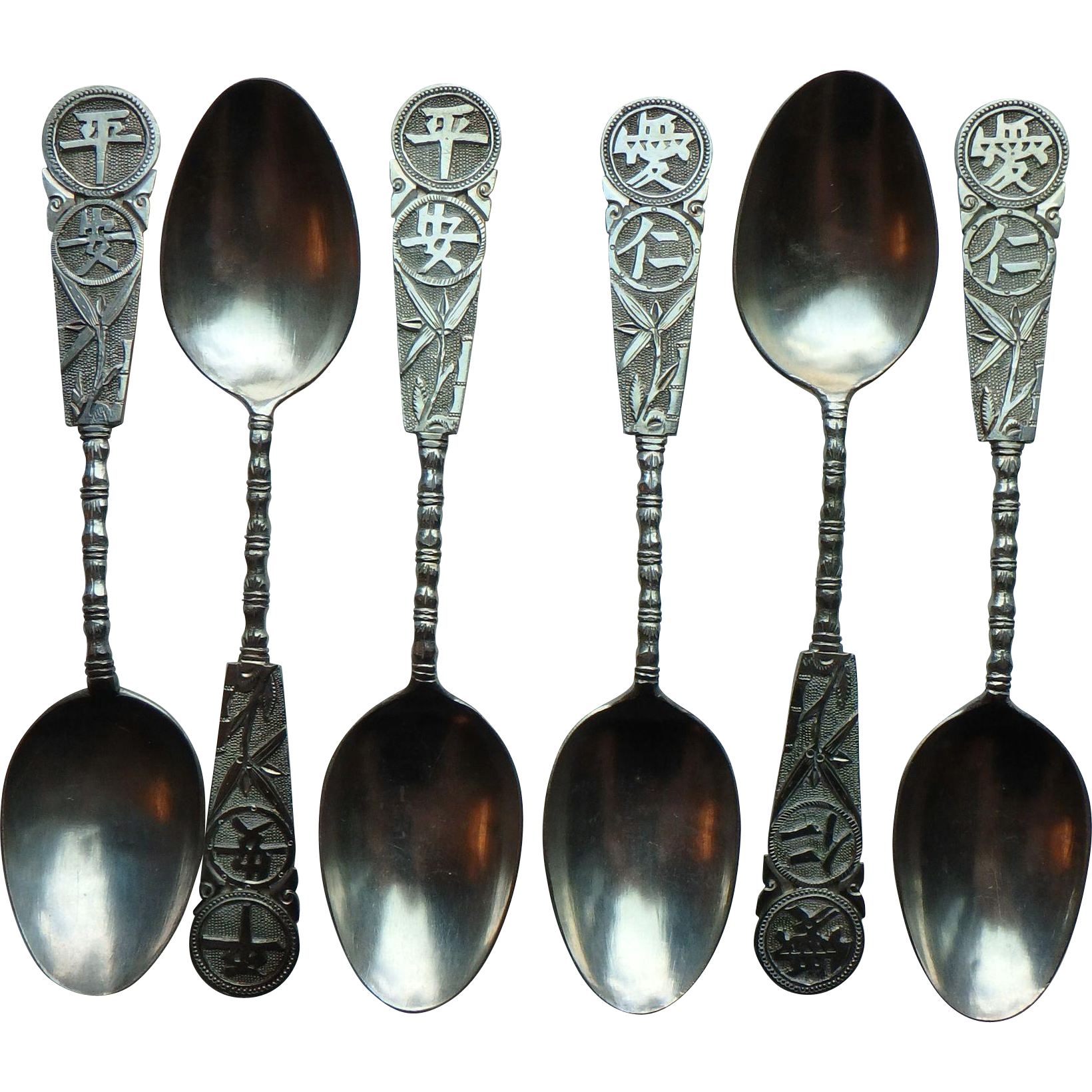 Chinese Sterling Demitasse Spoons, set of 6