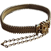 Victorian 14K Yellow Gold Mesh and Etruscan work Bracelet