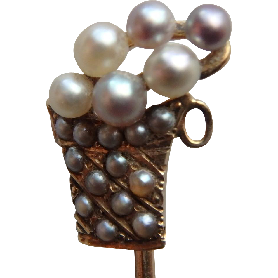 15K Yellow Gold Edwardian Stick Pin, Basket of Pearls