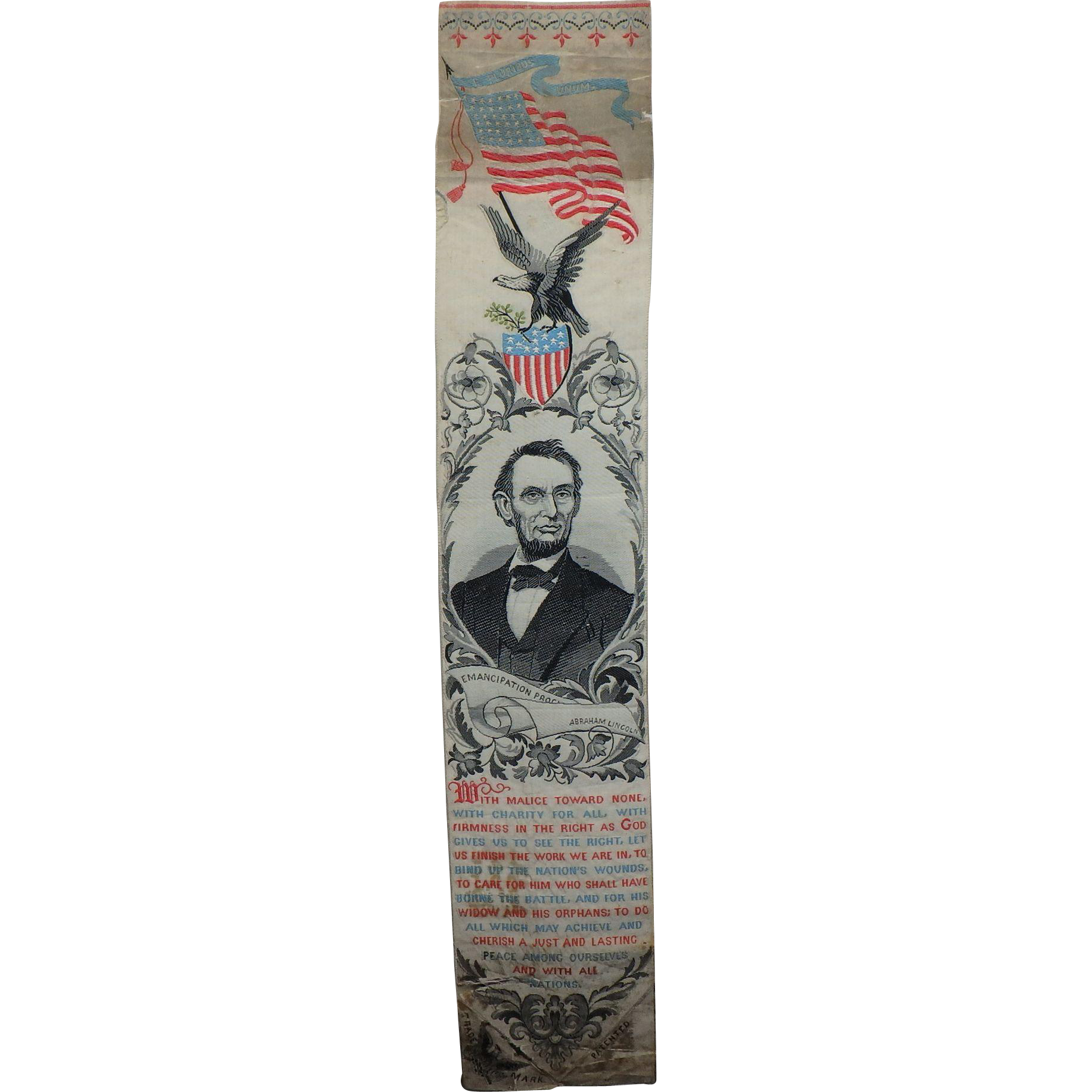 Abraham Lincoln Emancipation Proclamation Antique Silk Stevengraph Bookmark