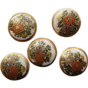 Satsuma Pottery Hand Painted Flowers Antique Buttons set of 5 Japan