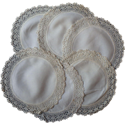 Linen Tea Plate Doilies Hand Crocheted Trim Unused Antique Set of 6
