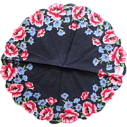 Round Vintage Handkerchief Poppies Bachelor Buttons Black Red Pink Blue
