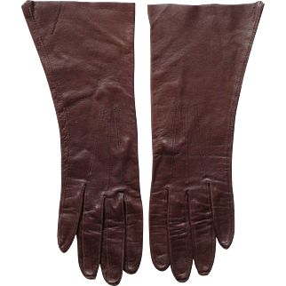 Vintage Brown Kid Leather Women's Gloves
