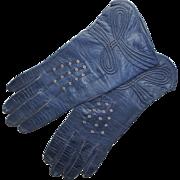 Vintage Navy Blue Kid Leather Women's Gloves