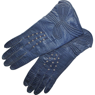 Vintage Navy Blue Kid Leather Women's Gloves
