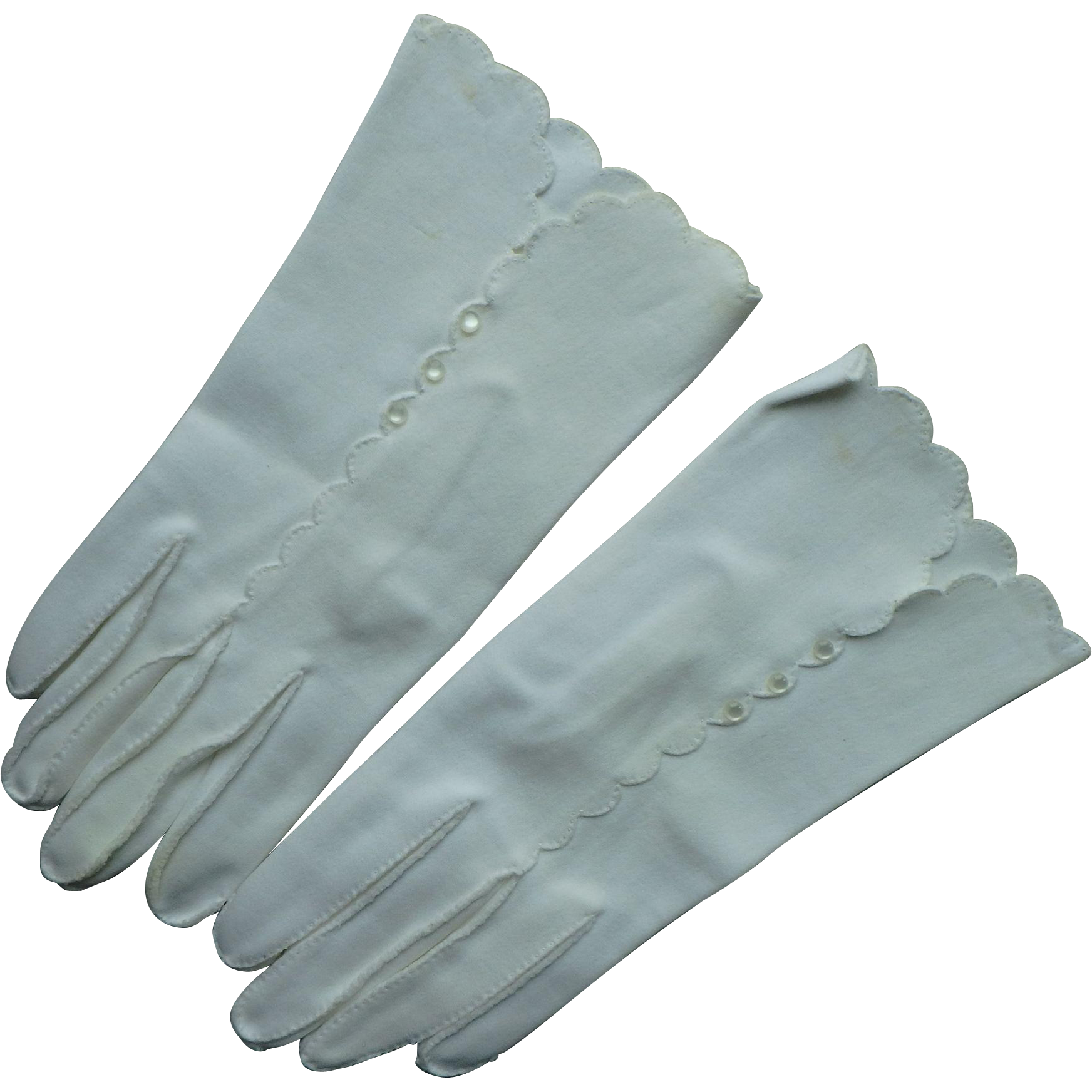 Vintage Fownes Women's White Double Woven Nylon Gloves with buttons