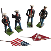 Vintage Britains American Marines with Flags