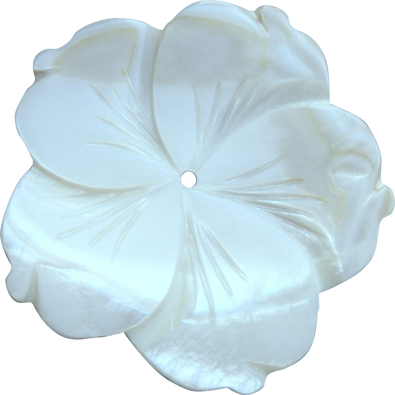 Vintage Mother of Pearl Plumeria Flower Button