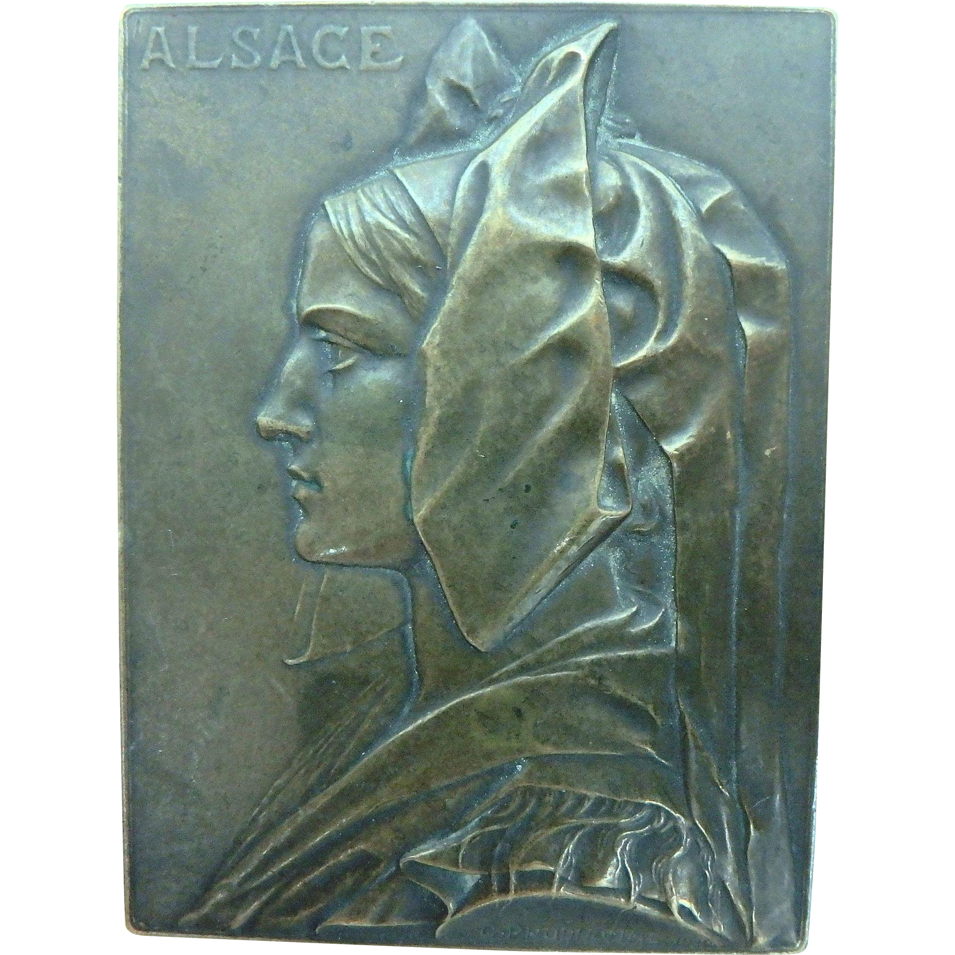 Vintage Bronze Alsace France WWI Bronze Medal by G. Prudhomme 1919