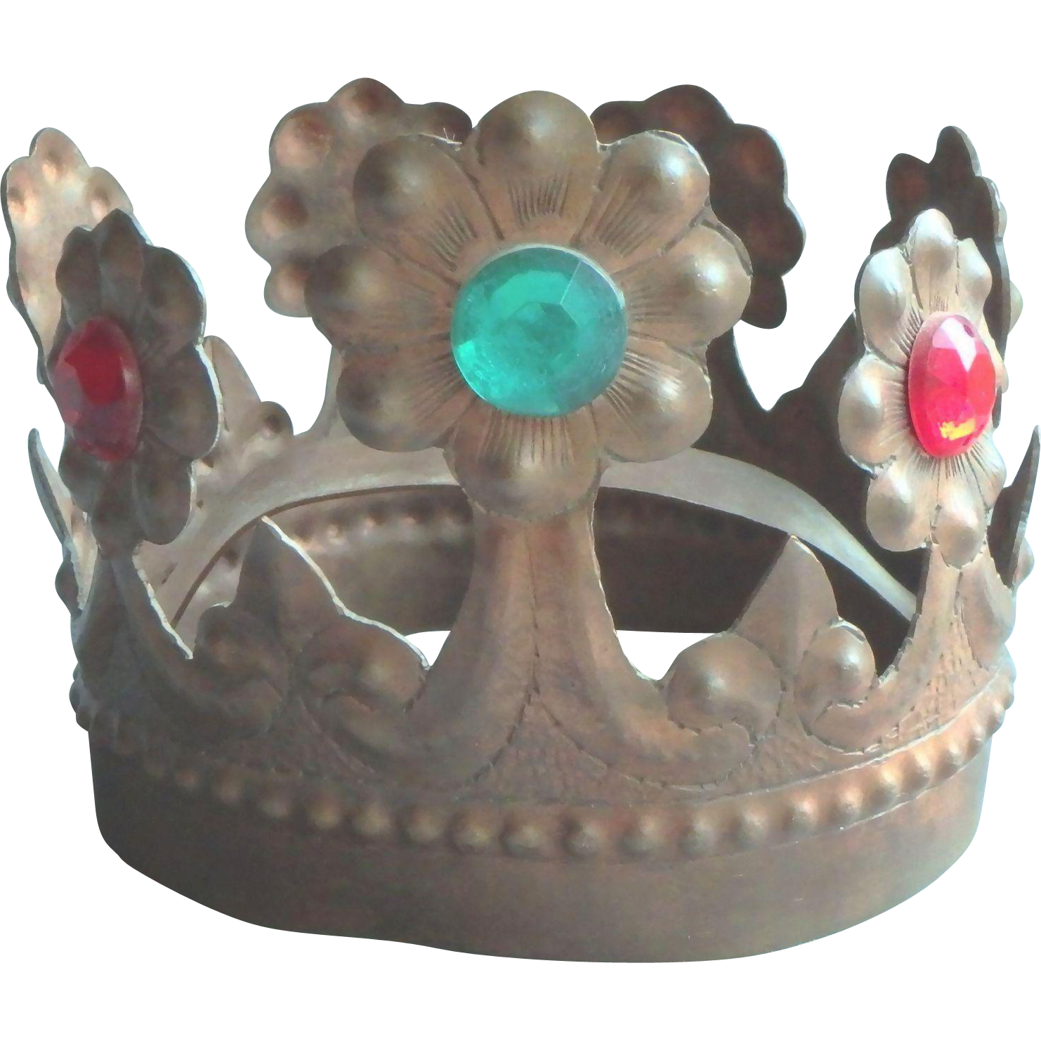 Vintage Jeweled Crown Religious Saint Santo
