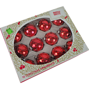 Mid-Century Red Shiny Brite Glass Christmas Ornaments, set of 12